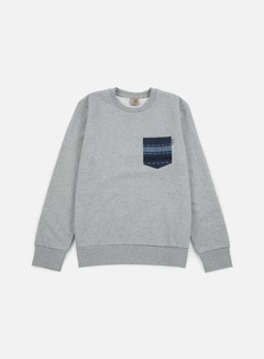 Carhartt - Eaton Pocket Sweatshirt, Grey Heather/Blue Ethnic Print 1