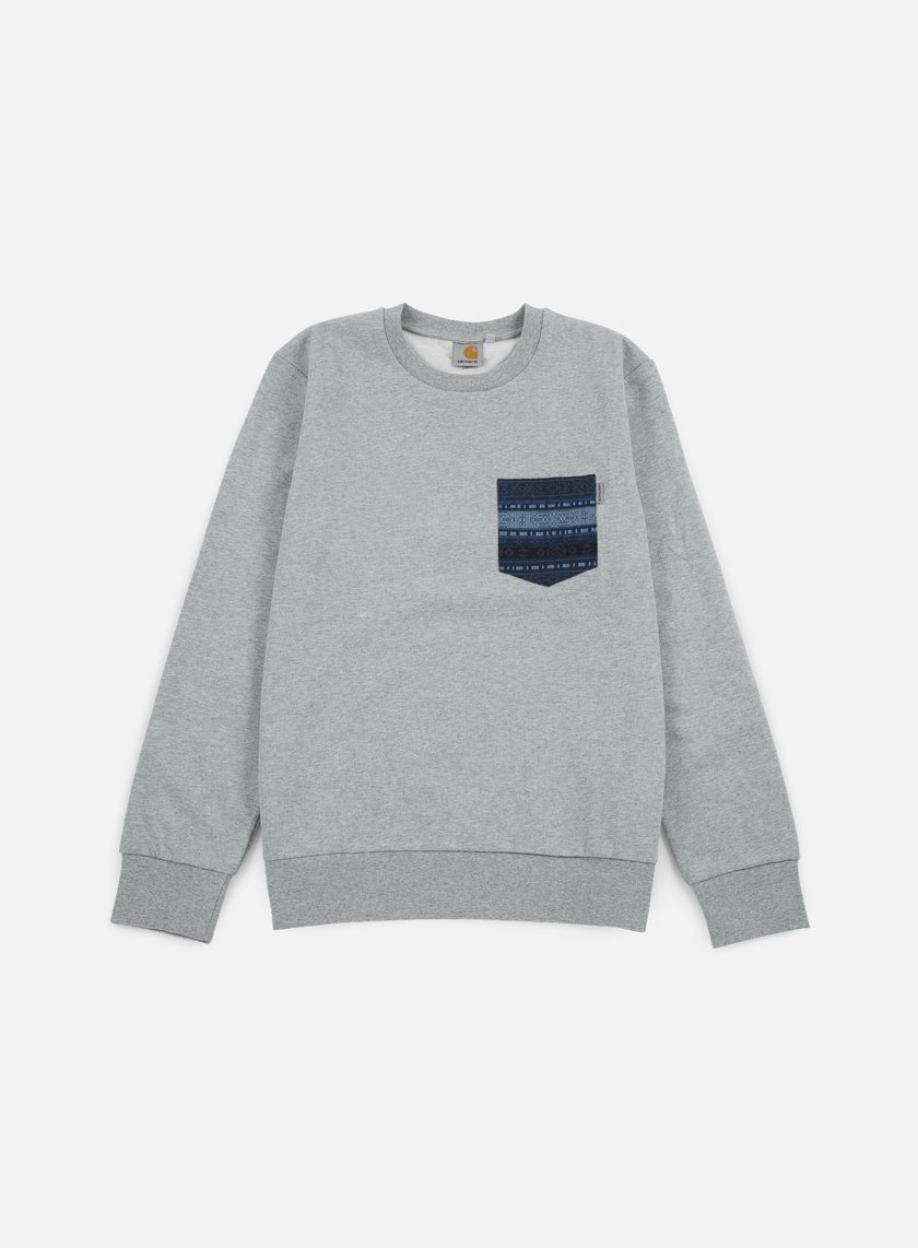 Carhartt - Eaton Pocket Sweatshirt, Grey Heather/Blue Ethnic Print