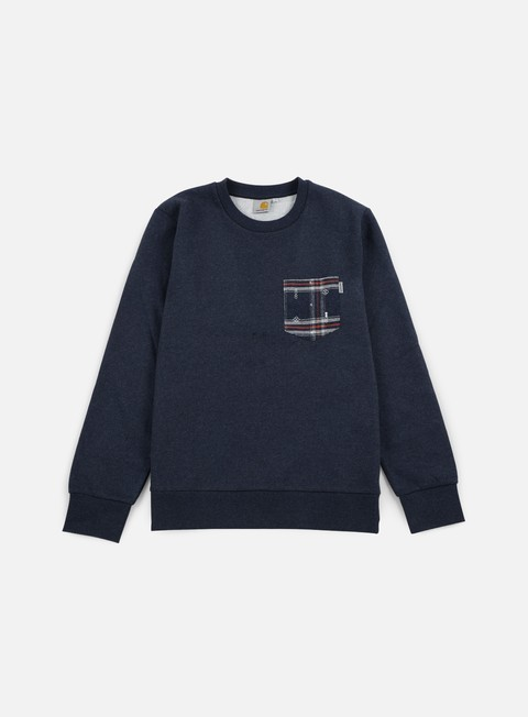 felpe carhartt eaton pocket sweatshirt navy heather jupiter heather carlos check