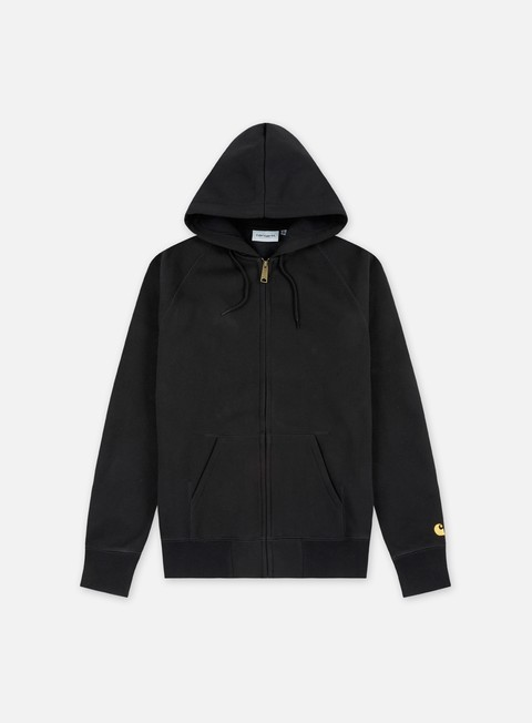 felpe carhartt hooded chase jacket black gold
