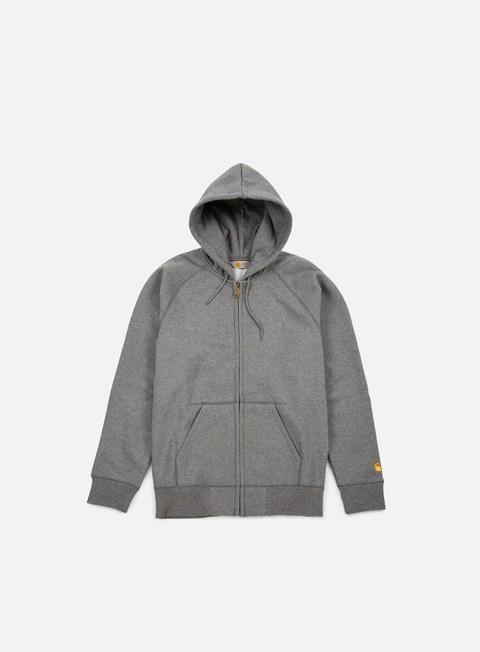 felpe carhartt hooded chase jacket dark grey heather
