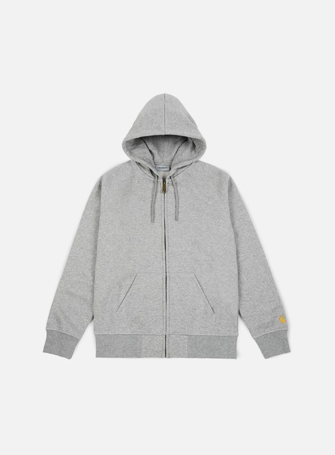 felpe carhartt hooded chase jacket grey heather gold