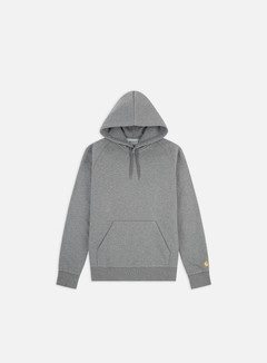 Carhartt - Hooded Chase Sweatshirt, Dark Grey Heather/Gold