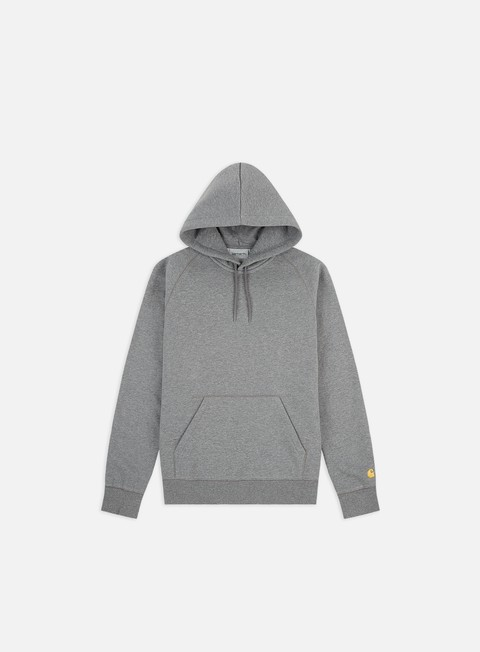 felpe carhartt hooded chase sweatshirt dark grey heather gold