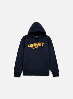 Carhartt - Hooded Painted Script Sweatshirt, Navy/Quince 1