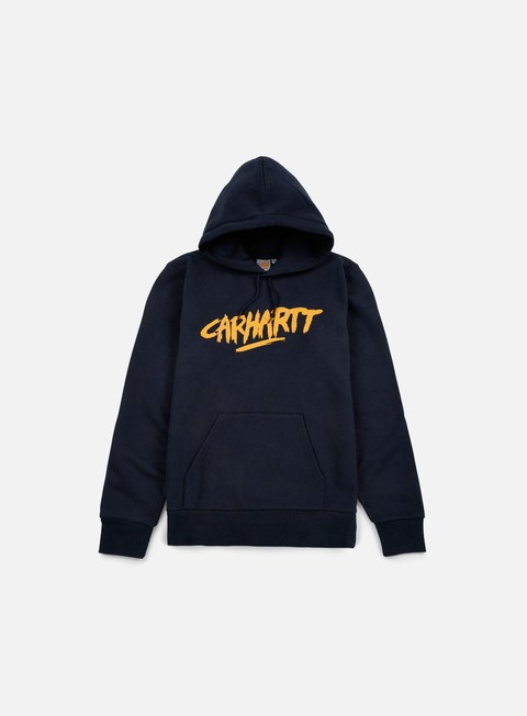 felpe carhartt hooded painted script sweatshirt navy quince