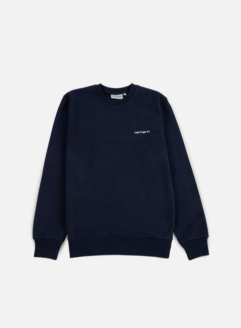 felpe carhartt script embroidery sweatshirt navy white