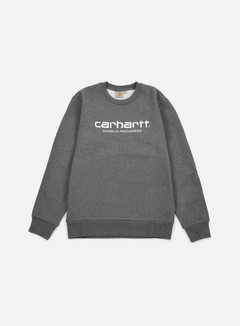 Carhartt - Wip Script Sweatshirt, Dark Grey Heather/White 1