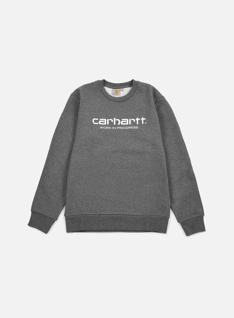 felpe carhartt wip script sweatshirt dark grey heather white