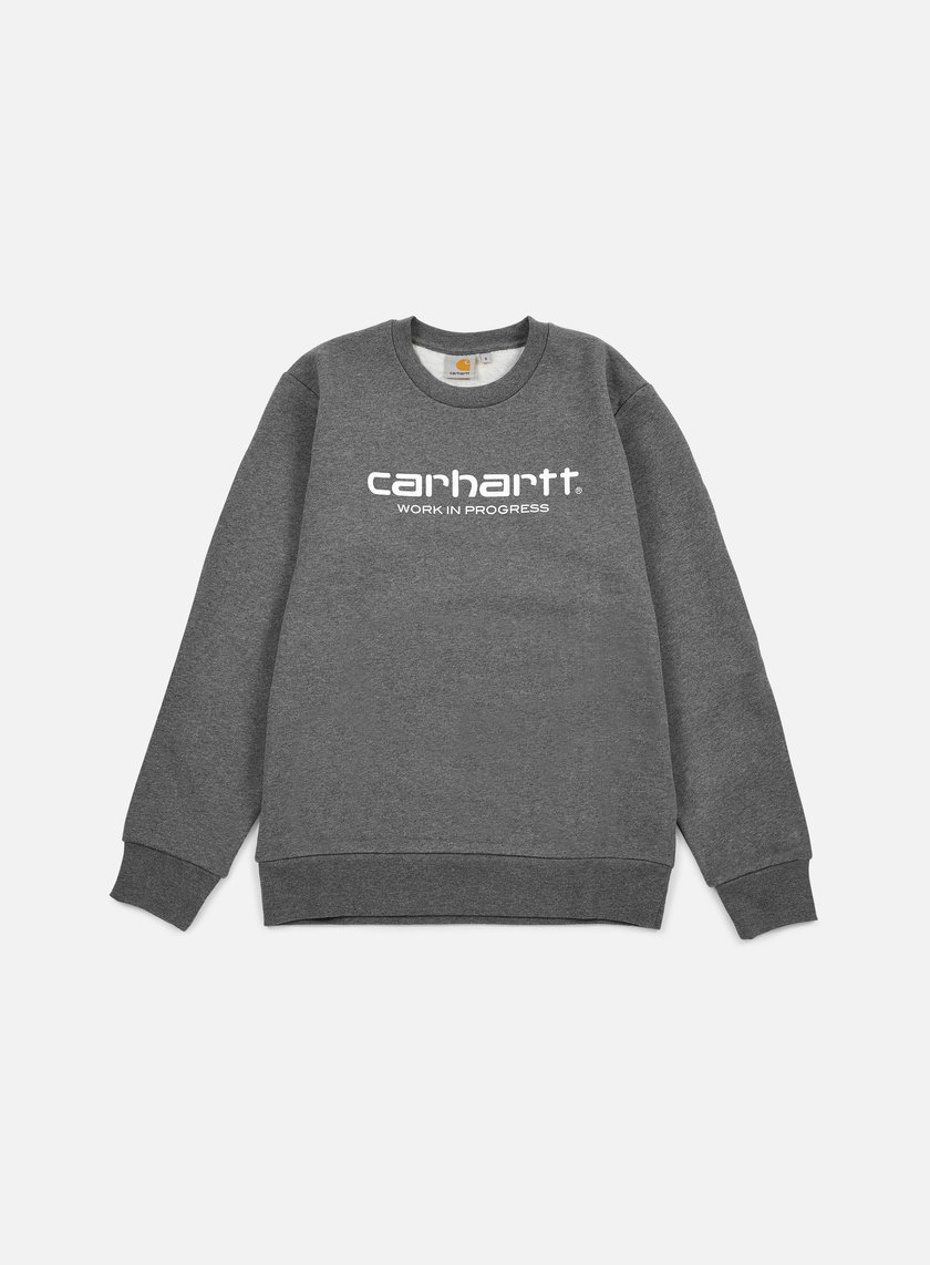 Carhartt - Wip Script Sweatshirt, Dark Grey Heather/White