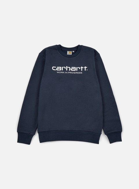 felpe carhartt wip script sweatshirt navy white