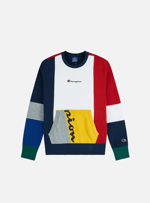 Outlet e Saldi Felpe Girocollo Champion Colour Block Patchwork Crewneck