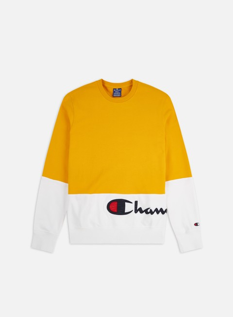 Crewneck Sweatshirts Champion Colour Block Wraparound Logo Crewneck