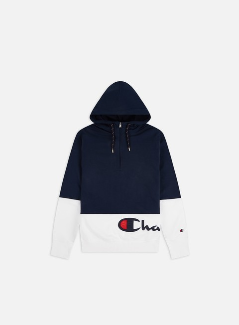 Champion Colour Block Wraparound Logo Half Zip Hoodie