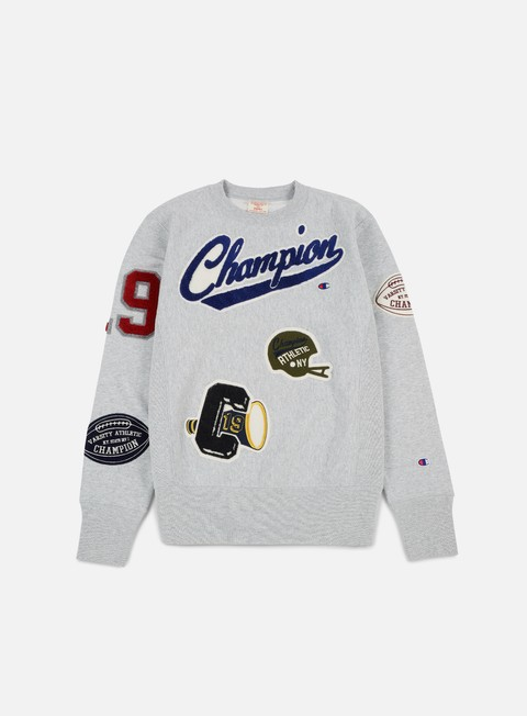 felpe champion football patches terry crewneck heather grey
