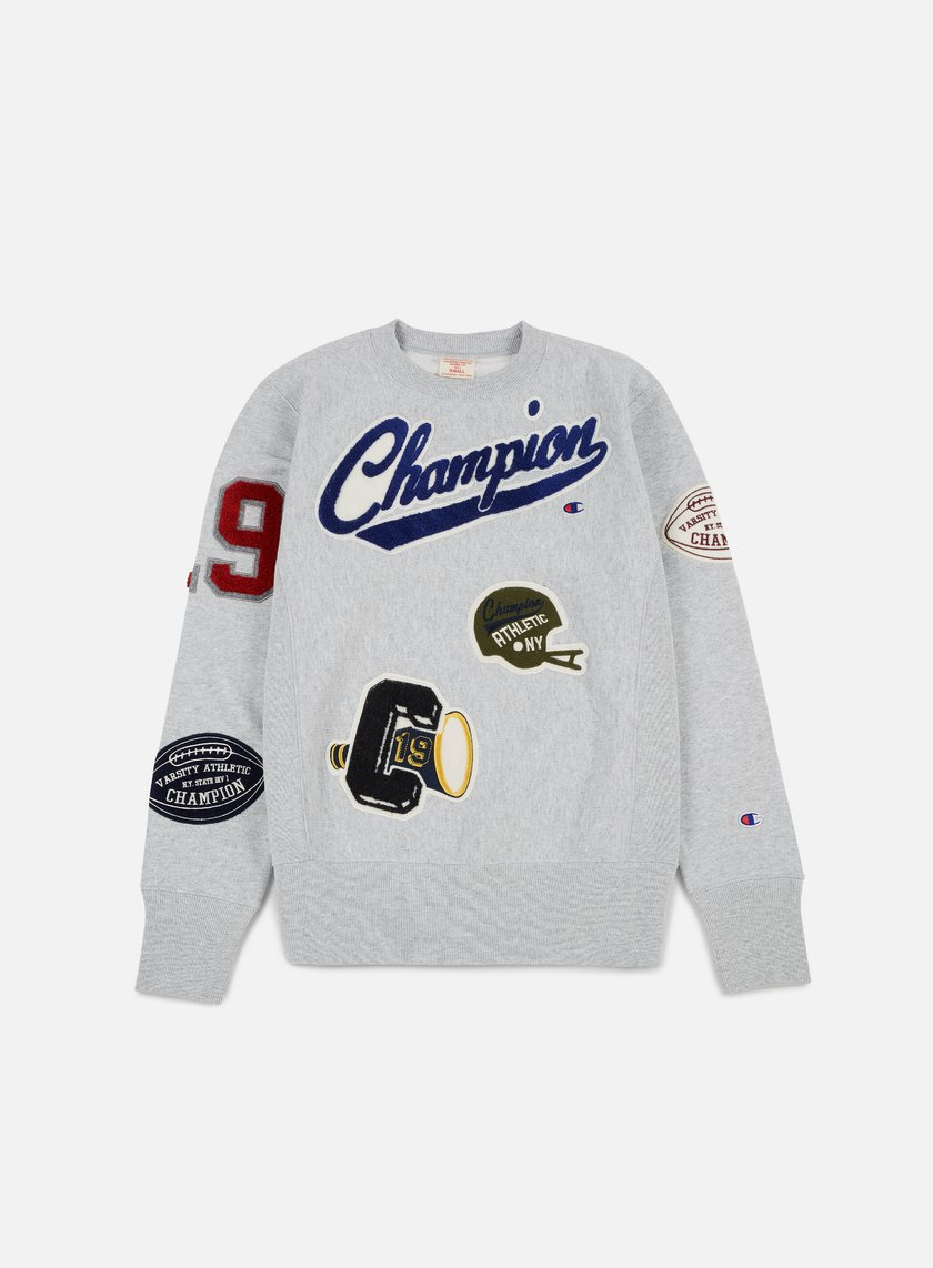 Champion - Football Patches Terry Crewneck, Heather/Grey