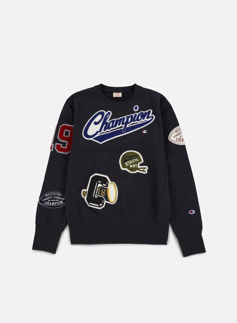 felpe champion football patches terry crewneck navy