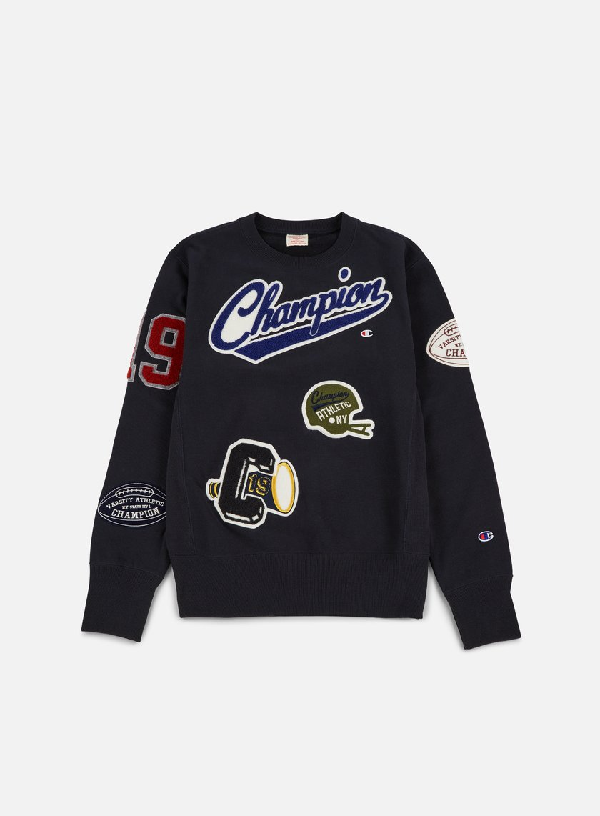 Champion - Football Patches Terry Crewneck, Navy