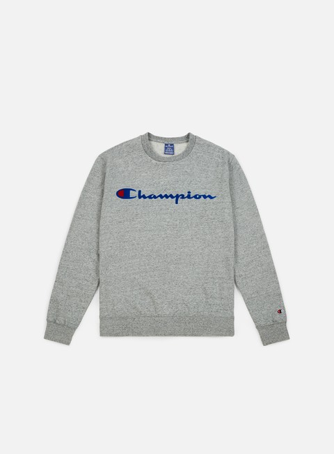 felpe champion garment washed crewneck grey light melange