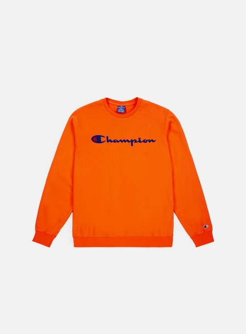 felpe champion garment washed crewneck orange