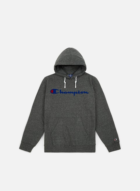 felpe champion garment washed timeless flock hoodie grey dark melange