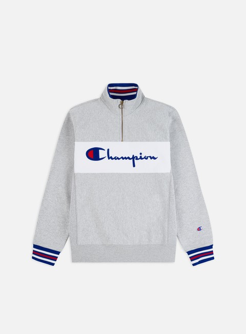 Champion Half Zip Logo Mock Neck