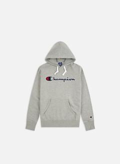 Champion - Large Embroidered Logo Hoodie, Grey Melange