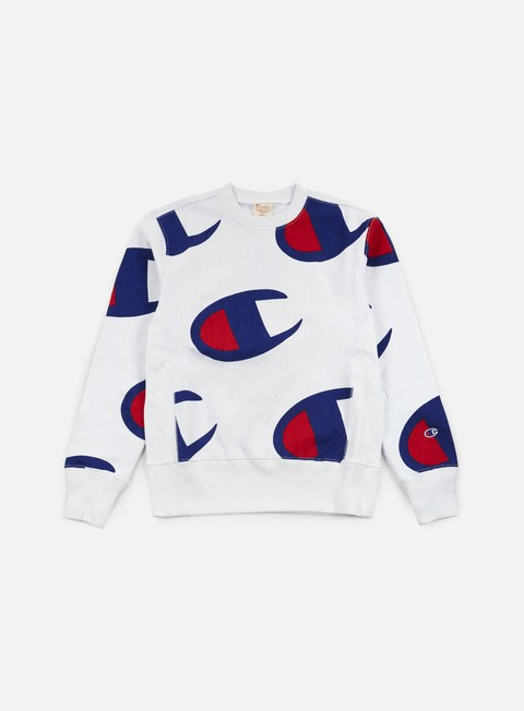 felpe champion reverse weave all big terry crewneck white