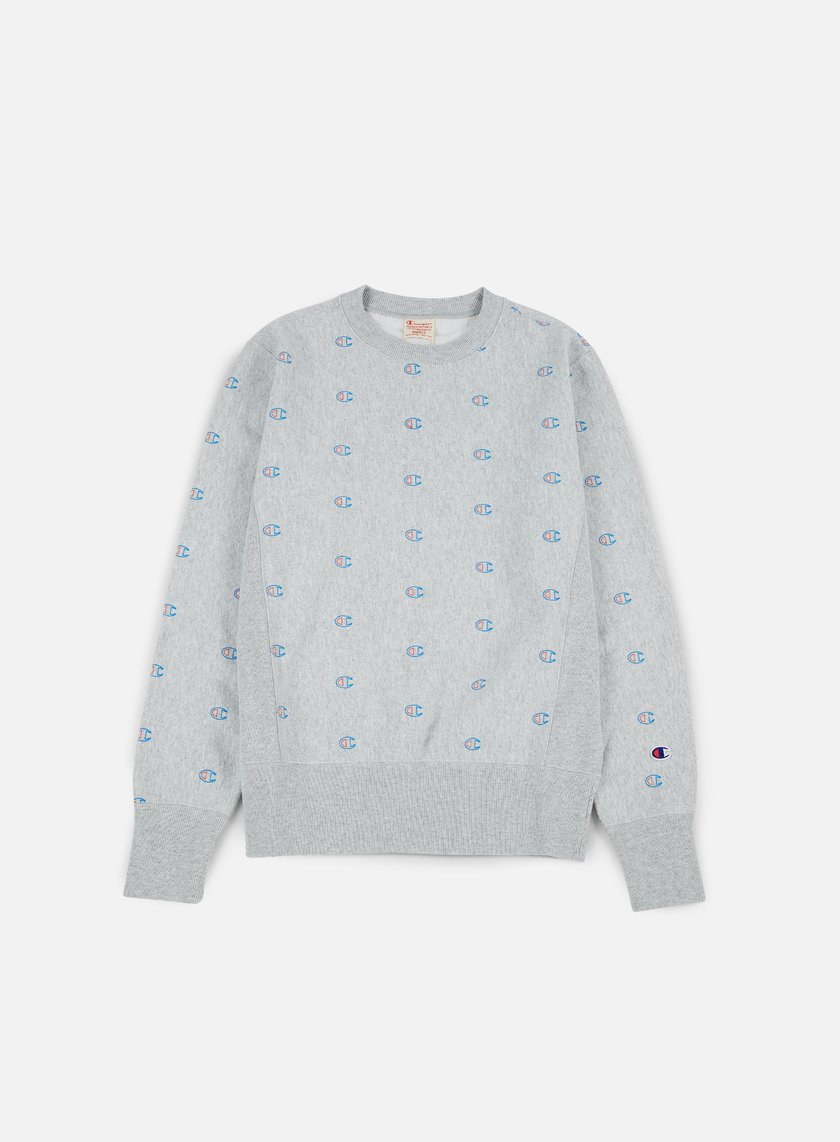Champion - Reverse Weave All Print  Terry Crewneck, Heather Grey
