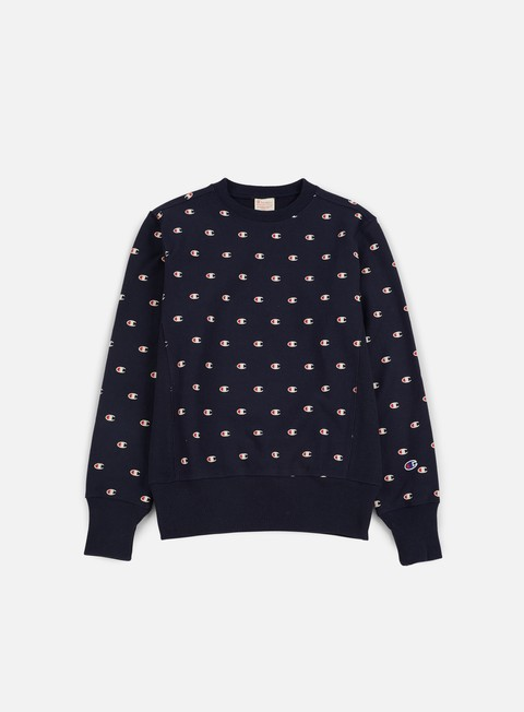 felpe champion reverse weave all terry crewneck navy