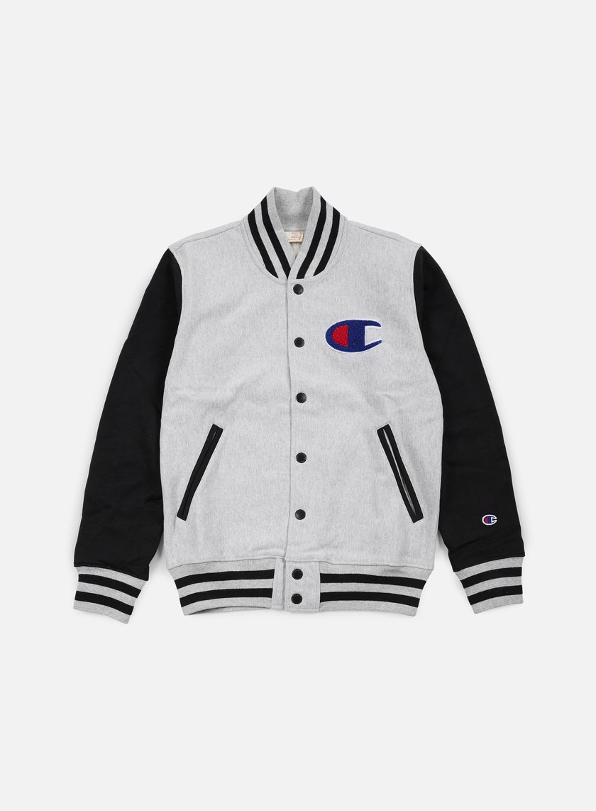Champion - Reverse Weave Bomber Fleece , Heather Grey/Black