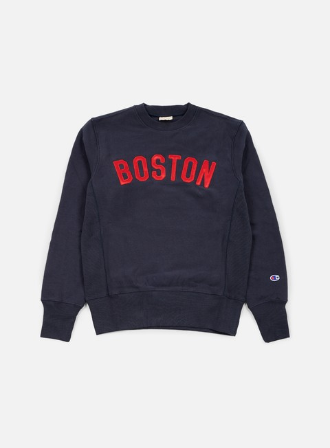 felpe champion reverse weave boston terry crewneck navy