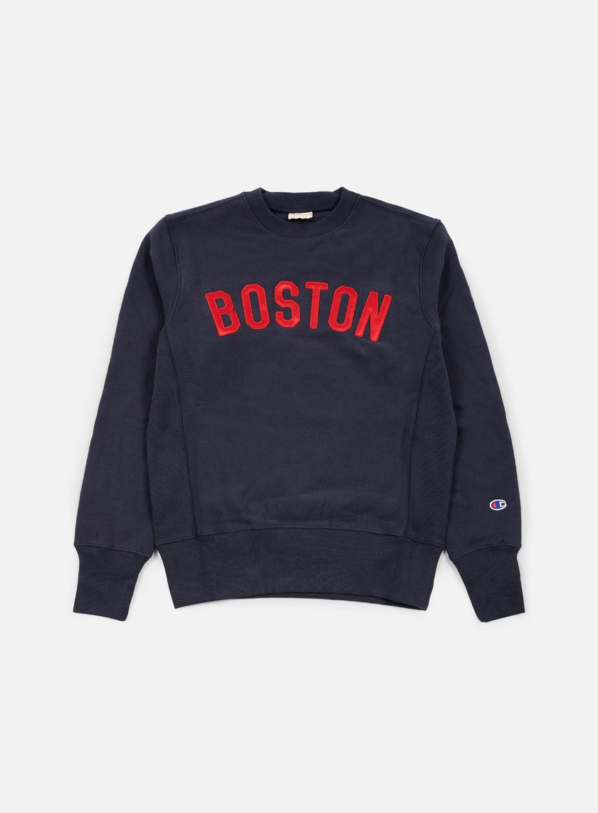 Champion - Reverse Weave Boston Terry Crewneck, Navy