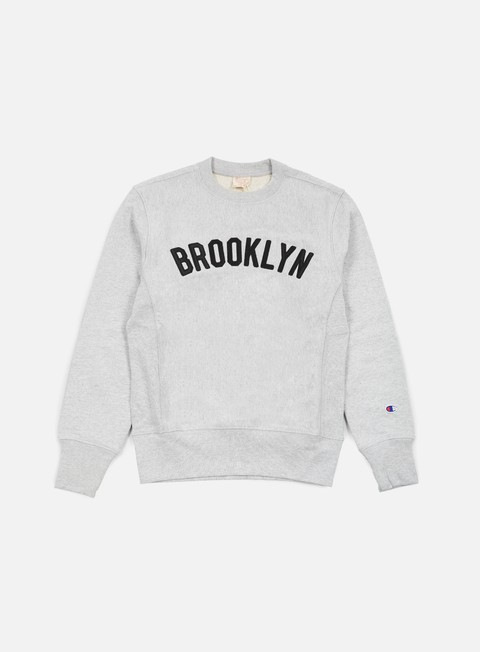 felpe champion reverse weave brooklyn terry crewneck heather grey
