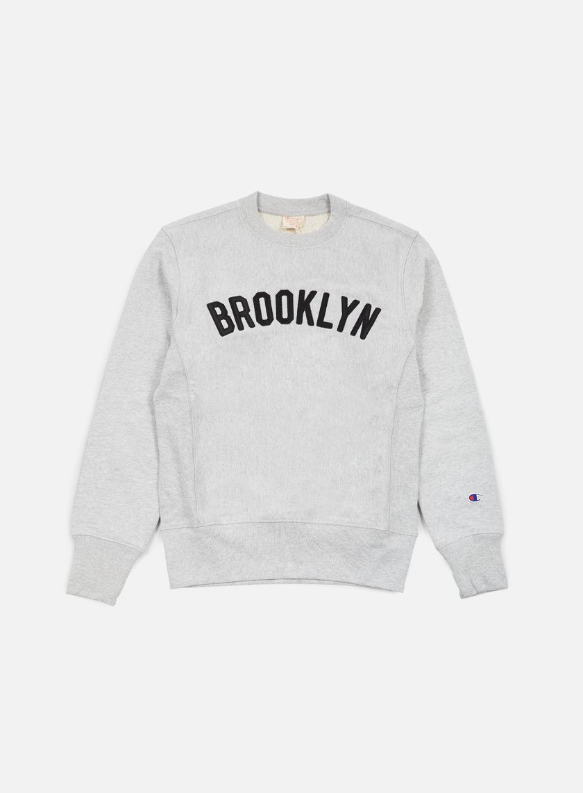Champion - Reverse Weave Brooklyn Terry Crewneck, Heather Grey
