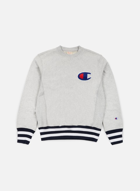 felpe champion reverse weave college terry crewneck heather grey