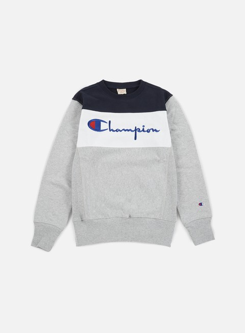 felpe champion reverse weave color block crewneck heather grey white navy