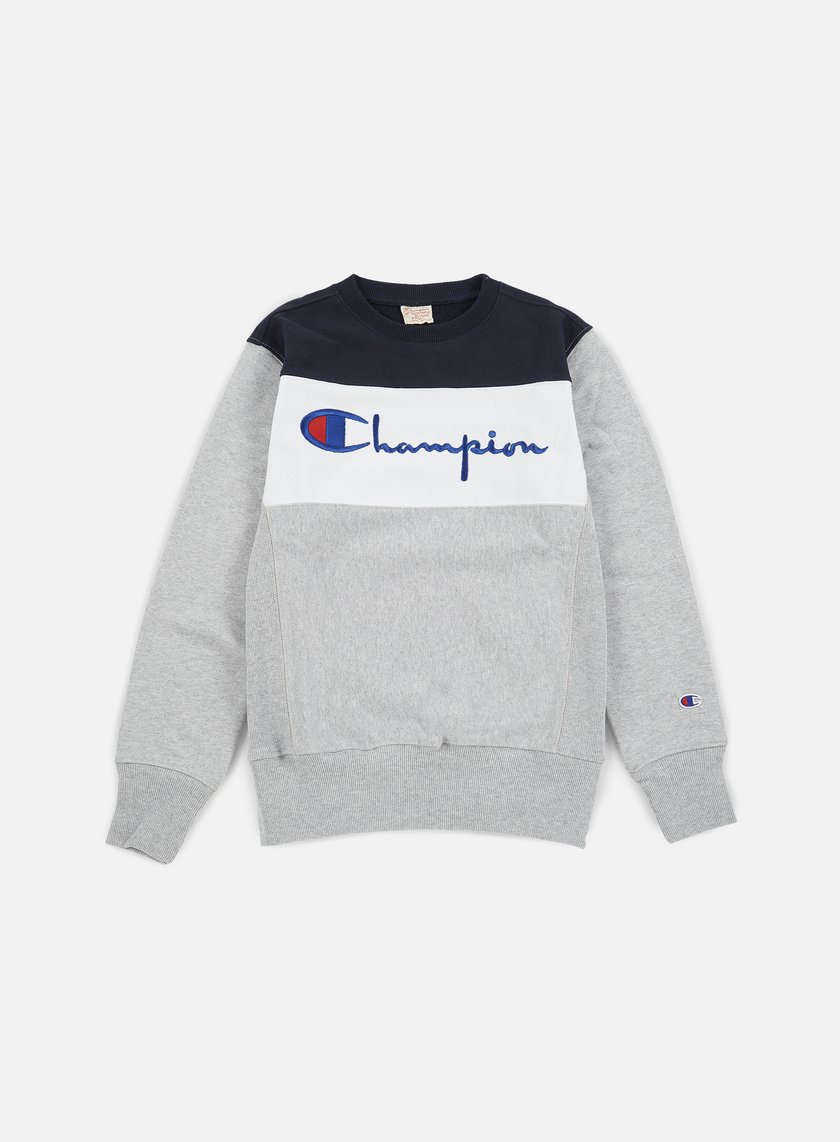 Champion - Reverse Weave Color Block Crewneck, Heather Grey/White/Navy