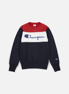 Champion - Reverse Weave Color Block Crewneck, Navy/White/Red 1