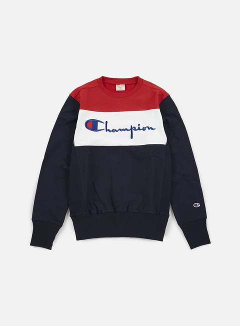 felpe champion reverse weave color block crewneck navy white red