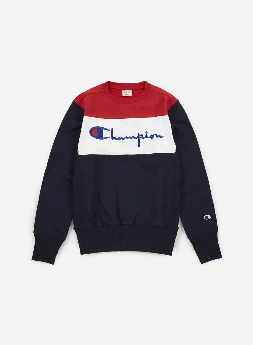 Champion - Reverse Weave Color Block Crewneck, Navy/White/Red