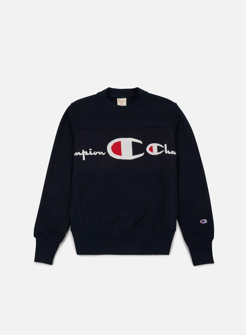 felpe champion reverse weave knitted logo crewneck navy
