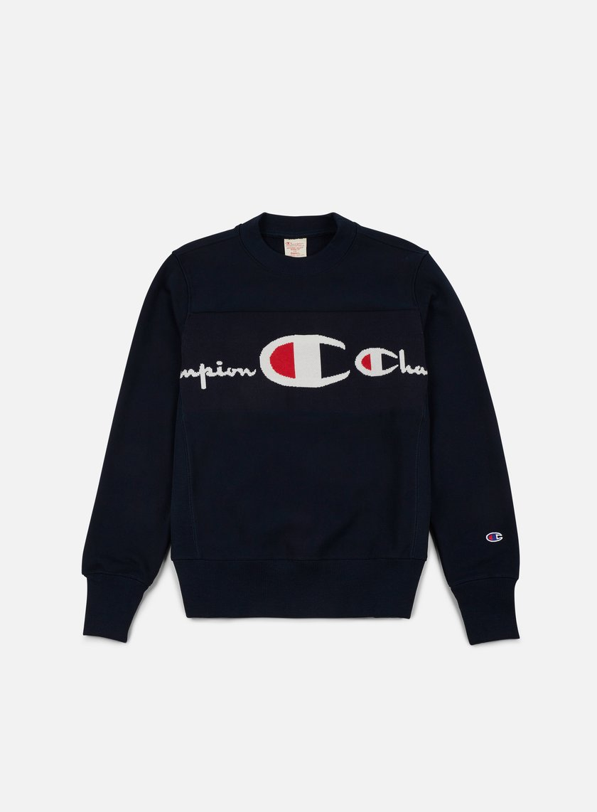 Champion - Reverse Weave Knitted Logo Crewneck, Navy