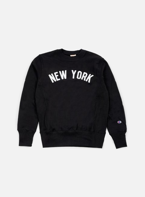 felpe champion reverse weave new york terry crewneck black