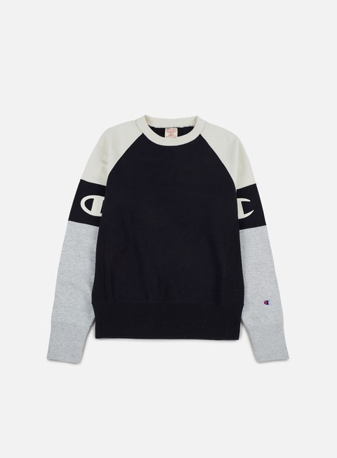 felpe champion reverse weave raglan sleeves terry crewneck navy cream heather grey