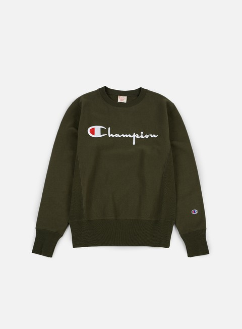 felpe champion reverse weave script terry crewneck forest green