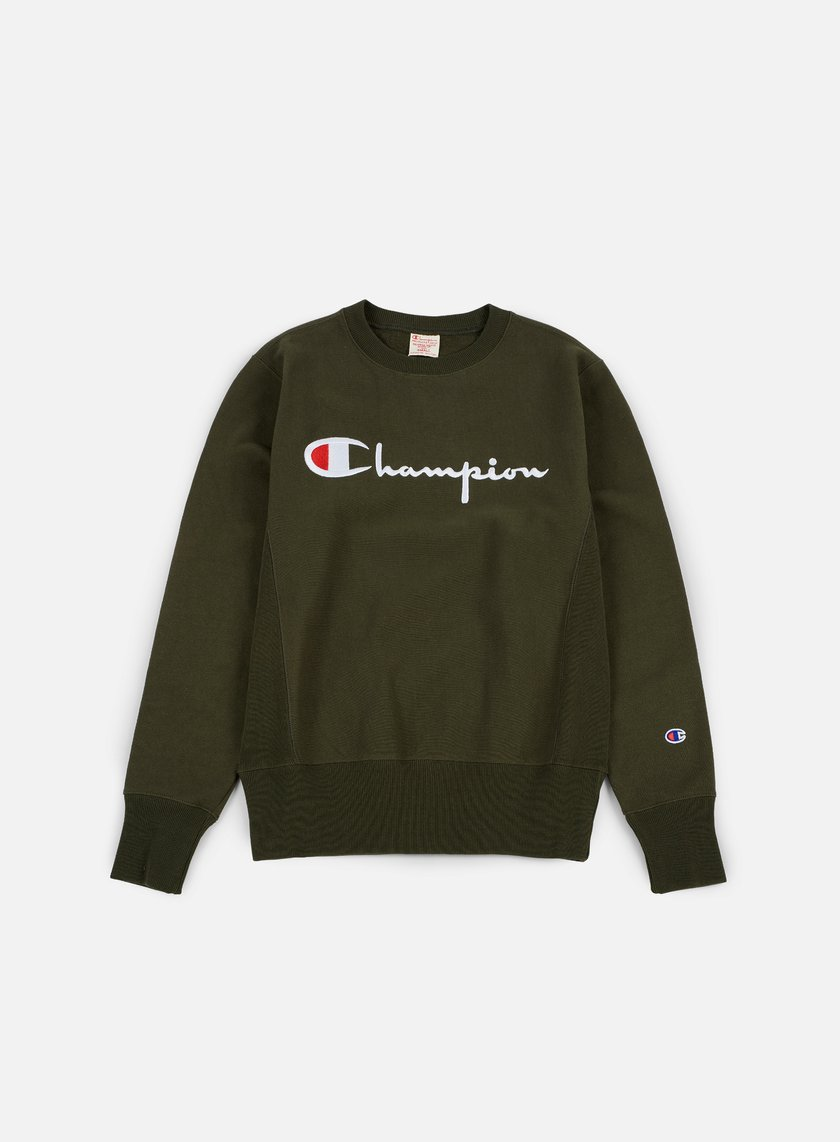 Champion - Reverse Weave Script Terry Crewneck, Forest Green