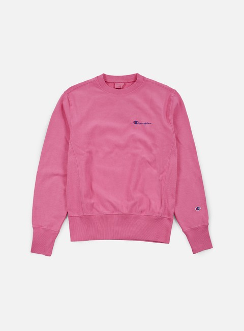 felpe champion reverse weave small script terry crewneck aztec pink