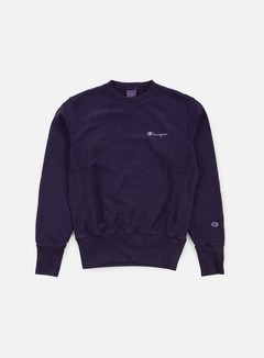 Champion - Reverse Weave Small Script Terry Crewneck, Dark Purple 1