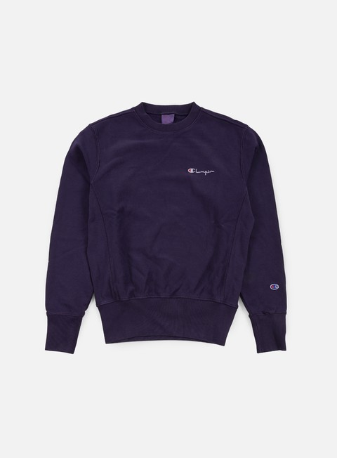 felpe champion reverse weave small script terry crewneck dark purple